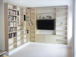 Built in Bookcases in living room with Media center and space fo TV