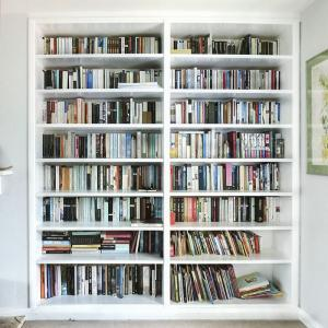 Built in bookcases in white