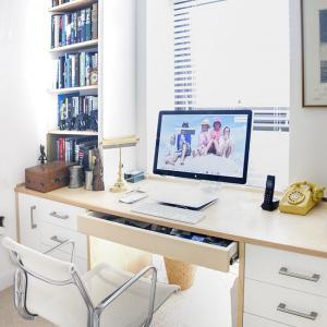 Fitted home office desk in Ash wood