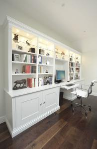 Home office desk in display cabinets