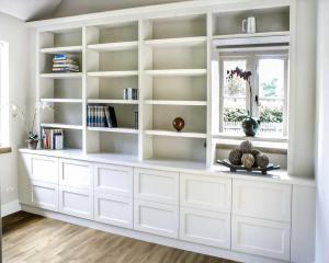 Large Modern bespoke living room cupboards and shelves