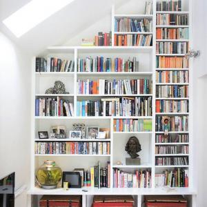 custom made floor to ceiling bookcase in a contemporary style 2