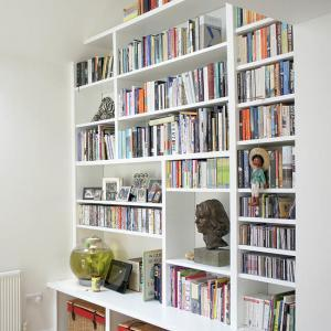 custom made floor to ceiling bookcase in a contemporary style