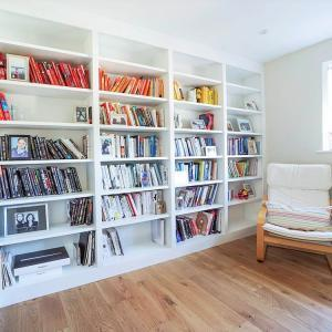 modern bookcases in white for reading room