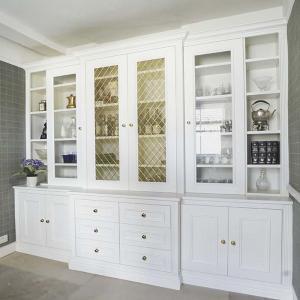 Built in Cupboards living room with glass doors