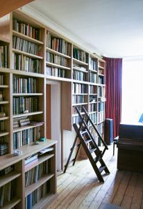 Wall to wall home Library with ladder