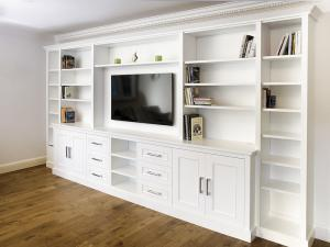 built in TV unit with drawers and shelves