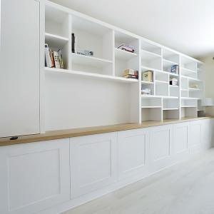 Large built in cabinets in living room