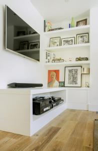 living room cabinet and shelves