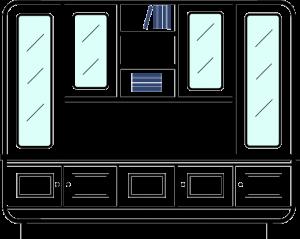 3-column-bookcase----upper-glazed display-cupboards--large-display-area