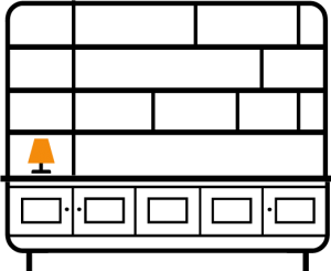 1-column-with-asymmetrical-Horizontal-bookcase-shelves