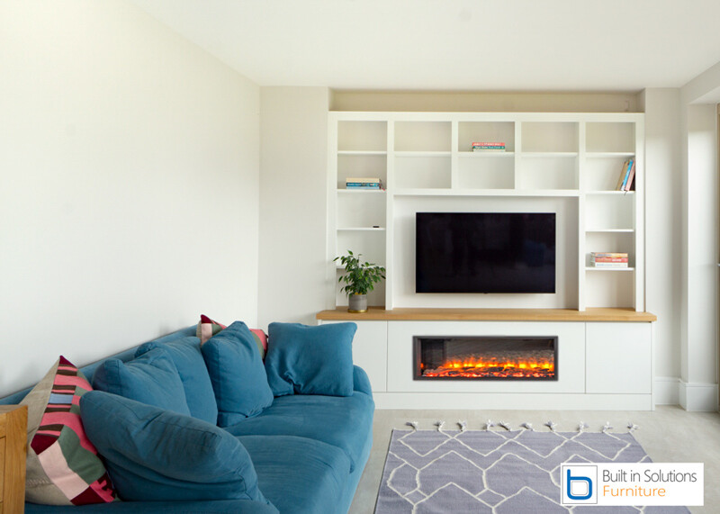 Contemporary scandinavian-design -TV wall unit with electric fire