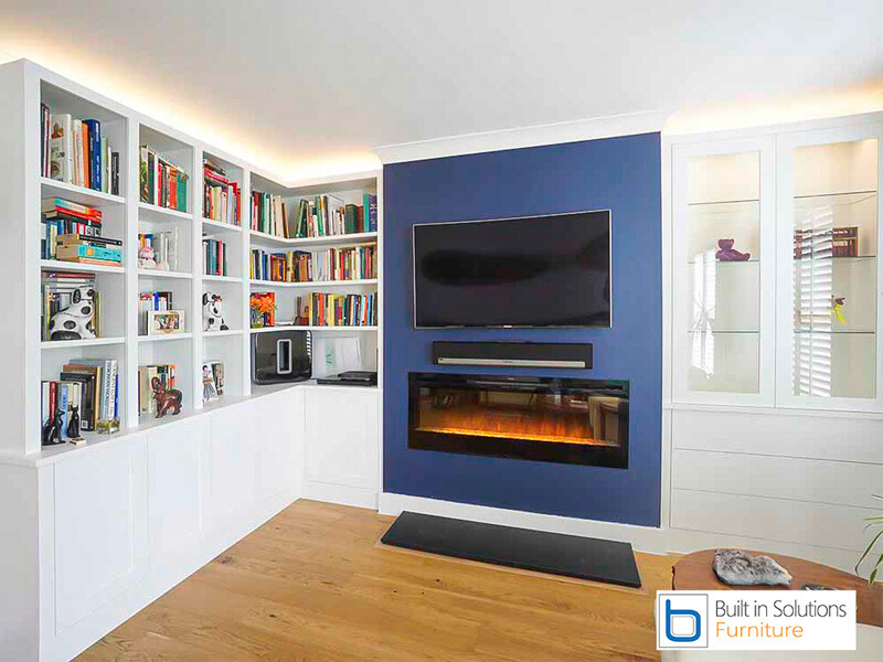 Modern-built-in-TV-cabinets-and-bookshelves-with-false-chimney-breast-and-Electric-Fire
