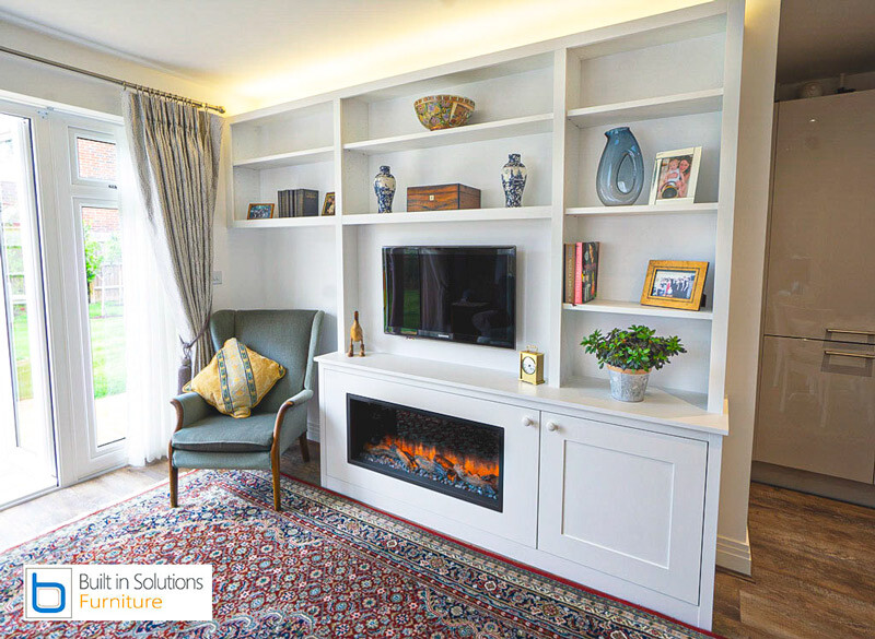 TV media Wall Unit with built in electric fire.