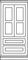 Two equal panel door with twin drawer