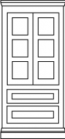 Three equal panel door style with twin drawer