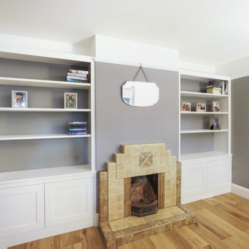Built in Alcove cupboards with contrasting backing