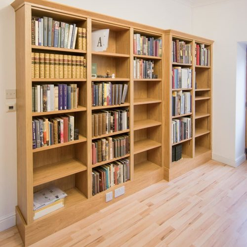 Built in Home library in Oak with stepped section