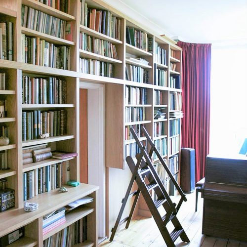 Built in bookcases with library ladder
