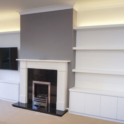Contemporary alcove unti with chunky floating shelves with LED lighting