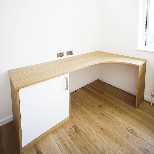 Curved corner desk in Oak and white painted