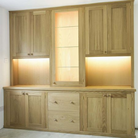 Fitted cabinets in Oak and ASh bespoke made to measure