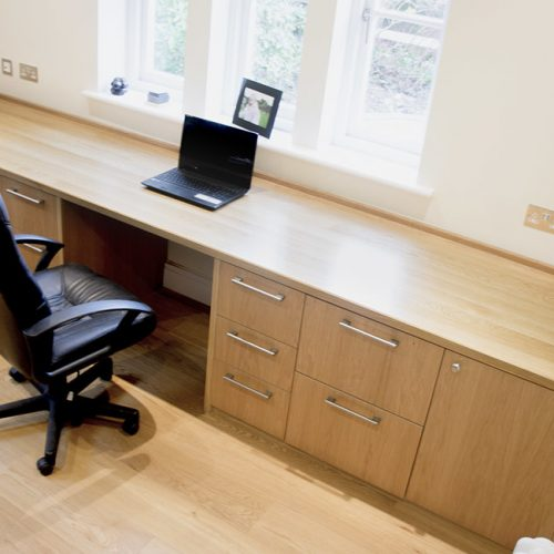 Home office desk in Solid Oak with cabinets and drawers