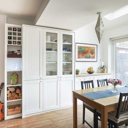 Built in Cupboards in a kitchen dining room