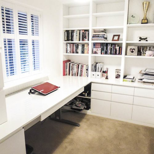 Modern home study with height raised desk