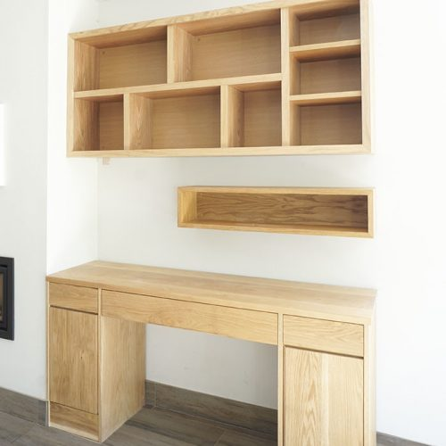Modern Oak deck and contemporary wall shelving