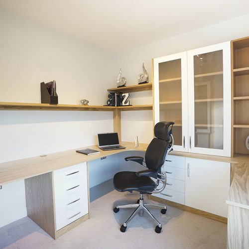Modern fitted home office in Oak & White
