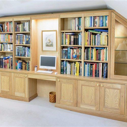 built in bookshelves in home office