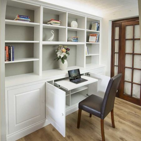 bespoke cabinets and bookcases with pull out desk home office