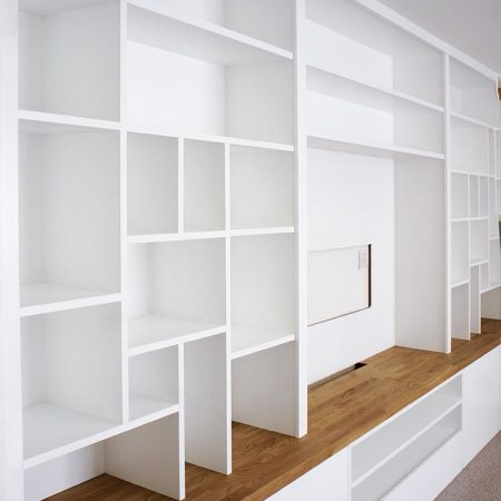 Modern living room cabinets and contemporary shelving with asymmetrical shelves