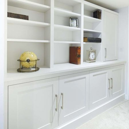 made to measure cabinets in large lounge alcove