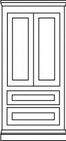 Two equal panel doors with twin drawers below