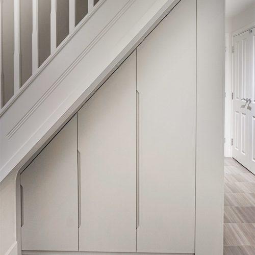 under stairs modern contemporary builtin wardrobe cupboard